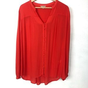 Lucky Brand Semi Sheer Button High-Low Blouse